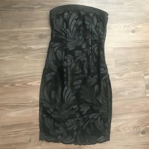 Bebe black floral lace mini bodycon dress